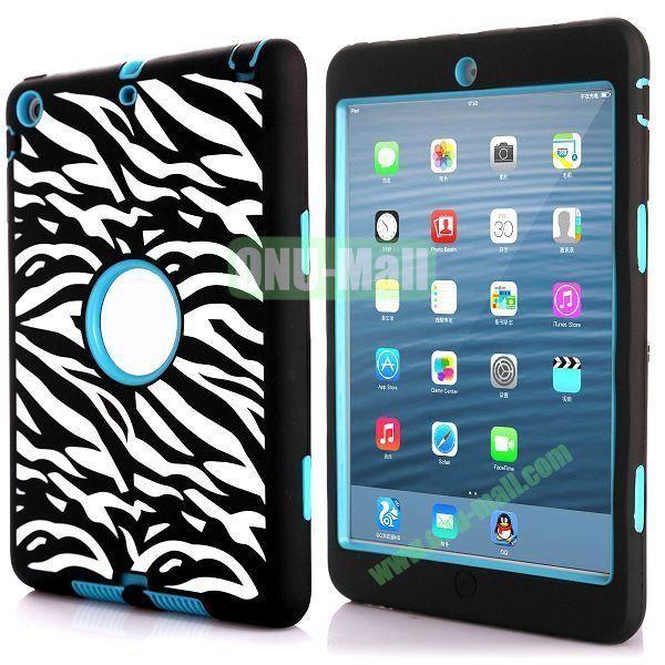 3 in 1 Dual Color Waves Stripes Design Hybrid Silicone + PC Hard Case for iPad Mini Retina  iPad Mini 3 (Black+Blue)
