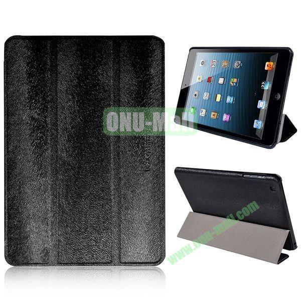 3-folding Stand Squirrel Texture Leather Cases for iPad Mini Retina  iPad Mini 3 (Black)
