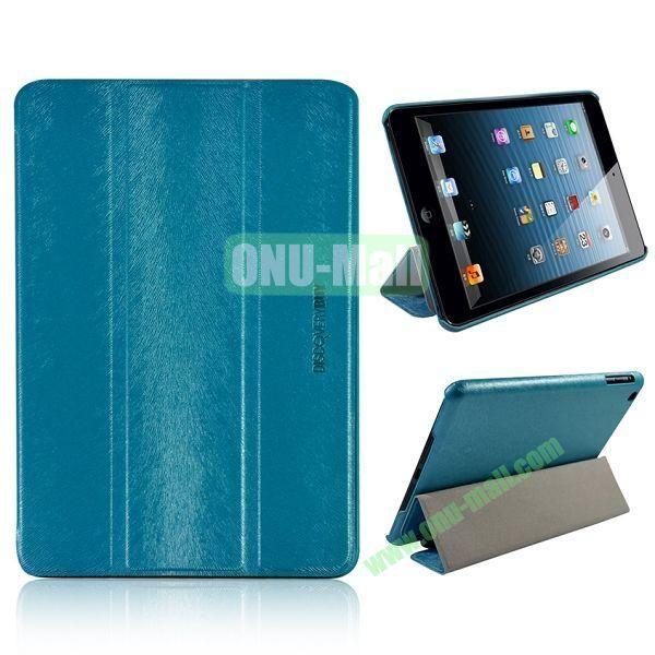 3-folding Stand Squirrel Texture Leather Cases for iPad Mini Retina  iPad Mini 3 (Blue)