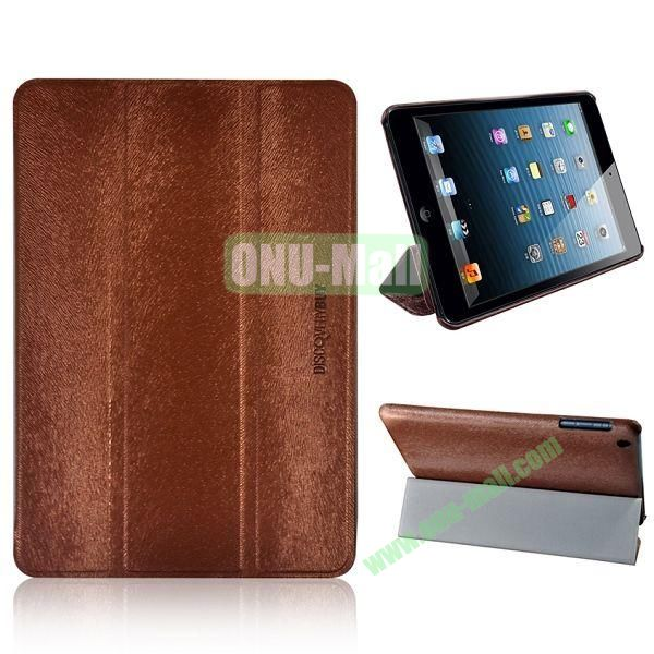3-folding Stand Squirrel Texture Leather Cases for iPad Mini Retina  iPad Mini 3 (Brown)
