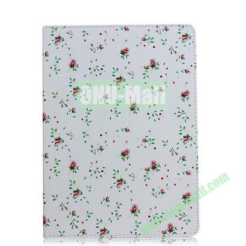 Small Flowers Pattern Flip Stand PC+ Leather Case for iPad Mini Retina  iPad Mini 3 (White)