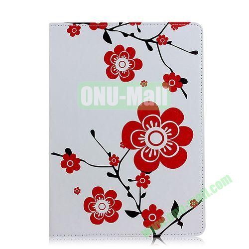 Red Flowers Pattern Flip Stand PC+ Leather Case for iPad Mini Retina  iPad Mini 3