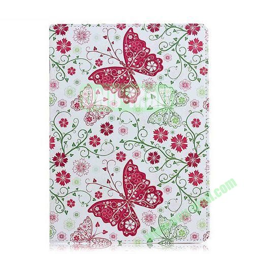 Red Butterfly Pattern Flip Stand PC+ Leather Case for iPad Mini Retina  iPad Mini 3
