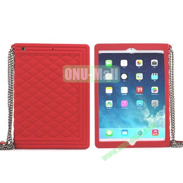 Classic Handbag Pattern Silicone Case Cover for iPad Mini iPad Mini Retina with Chain (Red)