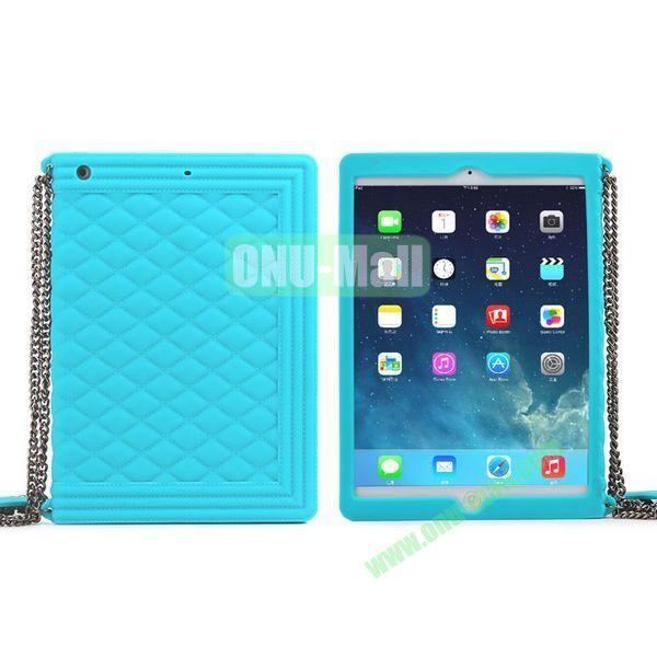 Classic Handbag Pattern Silicone Case Cover for iPad Mini iPad Mini Retina with Chain (Light Blue)