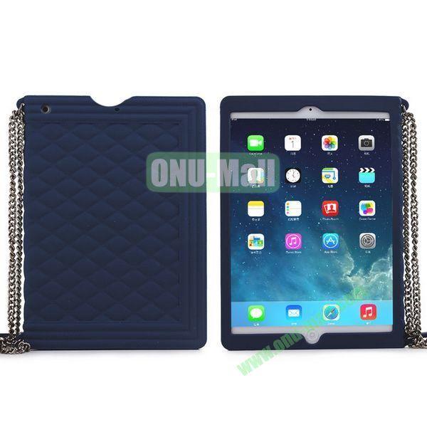 Classic Handbag Pattern Silicone Case Cover for iPad Mini iPad Mini Retina with Chain (Dark Blue)