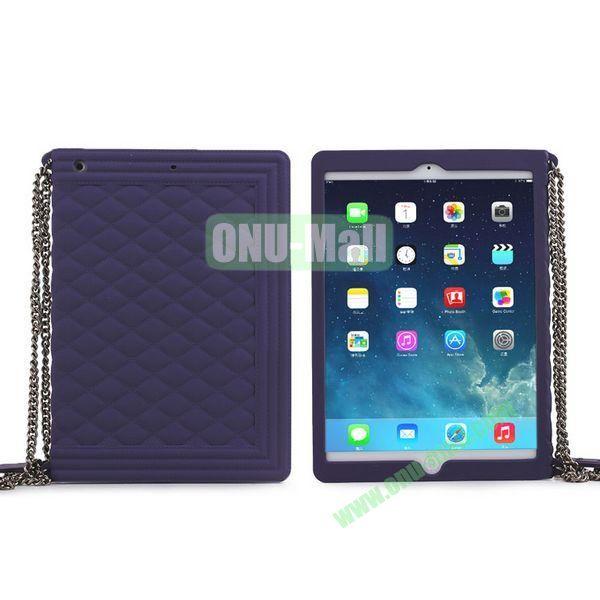Classic Handbag Pattern Silicone Case Cover for iPad Mini iPad Mini Retina with Chain (Purple)
