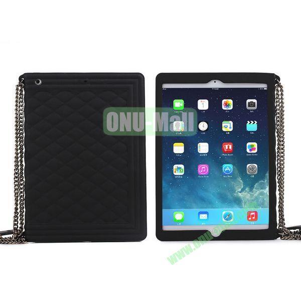Classic Handbag Pattern Silicone Case Cover for iPad Mini iPad Mini Retina with Chain (Black)
