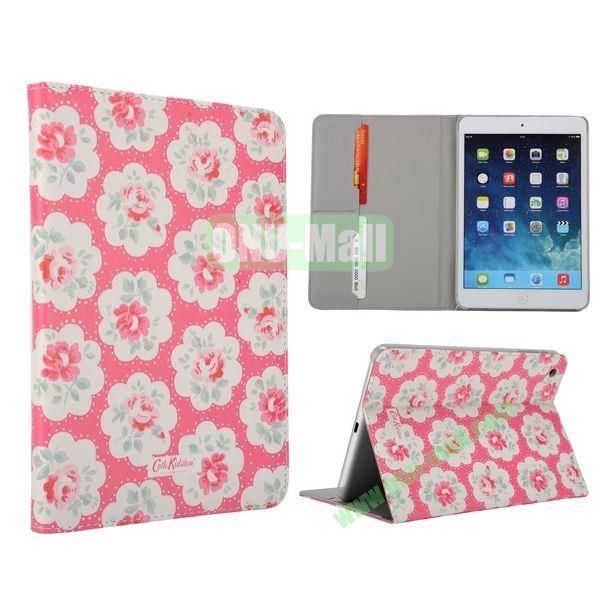 Flower Pattern Flip Stand Leather Case for MiniiPad Mini 2 (Pink Round Flower)