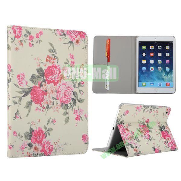 Flower Pattern Flip Stand Leather Case for MiniiPad Mini 2 (Peony Flower)