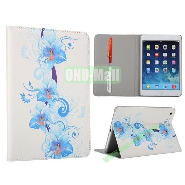 Flower Pattern Flip Stand Leather Case for MiniiPad Mini 2 (Blossoming Blue Lily)