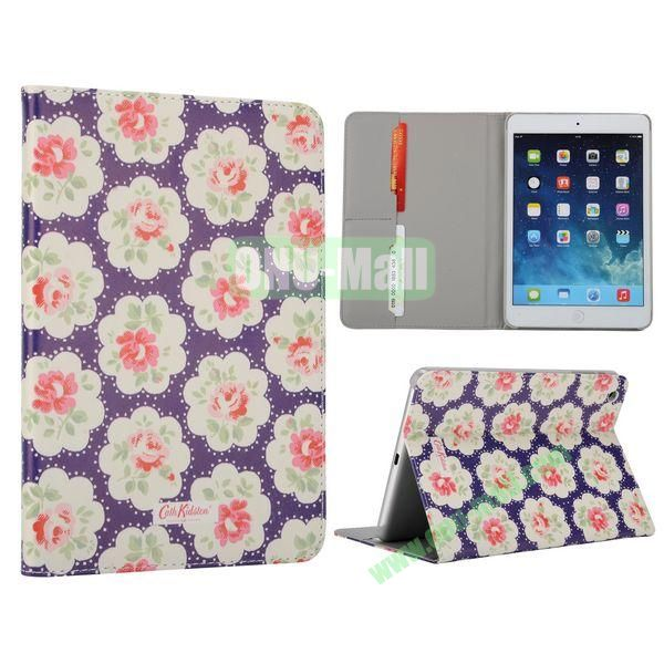 Flower Pattern Flip Stand Leather Case for MiniiPad Mini 2 (Purple Round Flower)