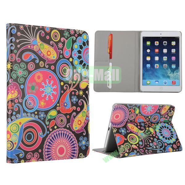 Flower Pattern Flip Stand Leather Case for MiniiPad Mini 2 (Colorful Fish and Circle)
