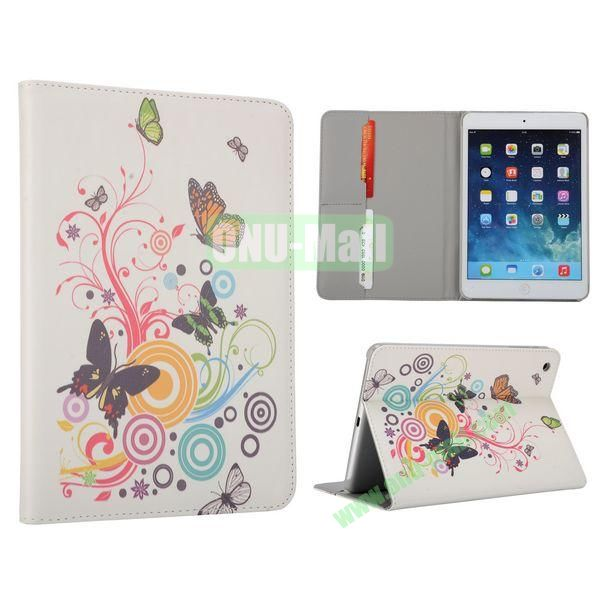 Flower Pattern Flip Stand Leather Case for MiniiPad Mini 2 (Unique Butterfly Swirl)