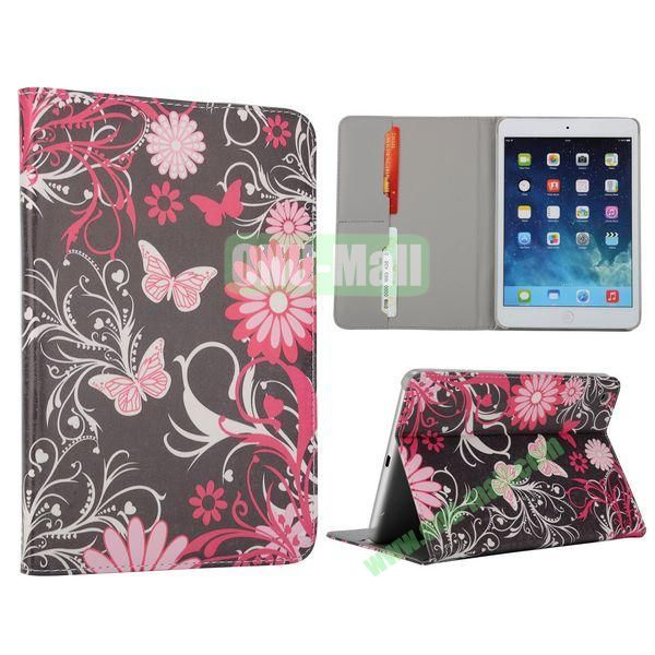 Flower Pattern Flip Stand Leather Case for MiniiPad Mini 2 (Unique Butterfly and Flower)