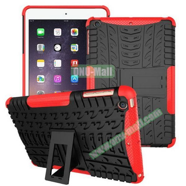 2 in 1 Pattern Anti Skid Texture Silicone + PC Hybrid Case for iPad Mini 3 (Red)