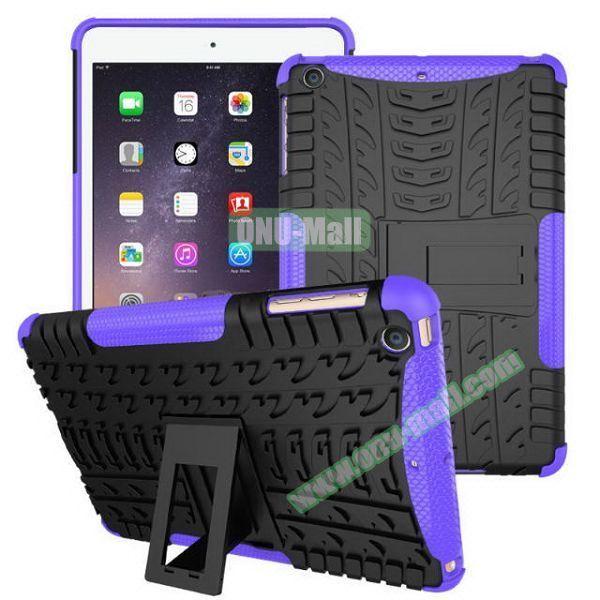 2 in 1 Pattern Anti Skid Texture Silicone + PC Hybrid Case for iPad Mini 3 (Purple)