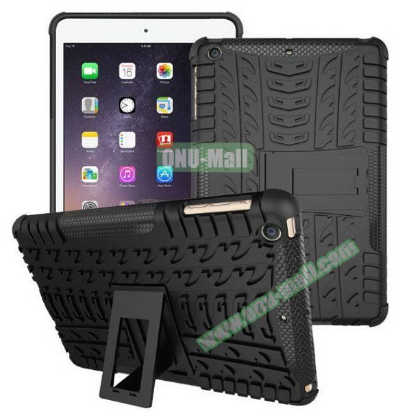 2 in 1 Pattern Anti Skid Texture Silicone + PC Hybrid Case for iPad Mini 3 (Black)