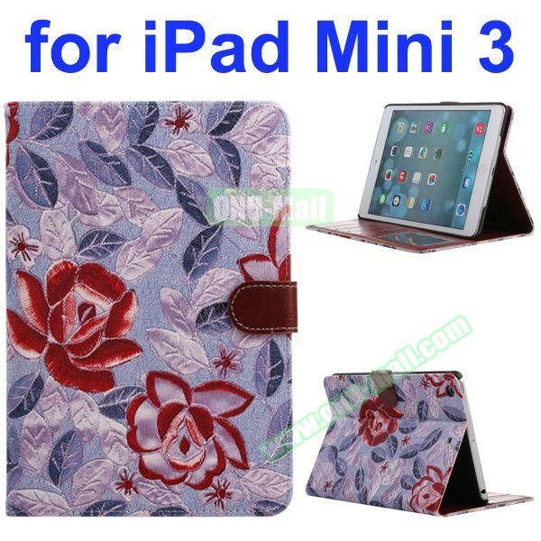 Classical Flower Pattern PU Flip Leather Case for iPad Mini 3 (Pink)