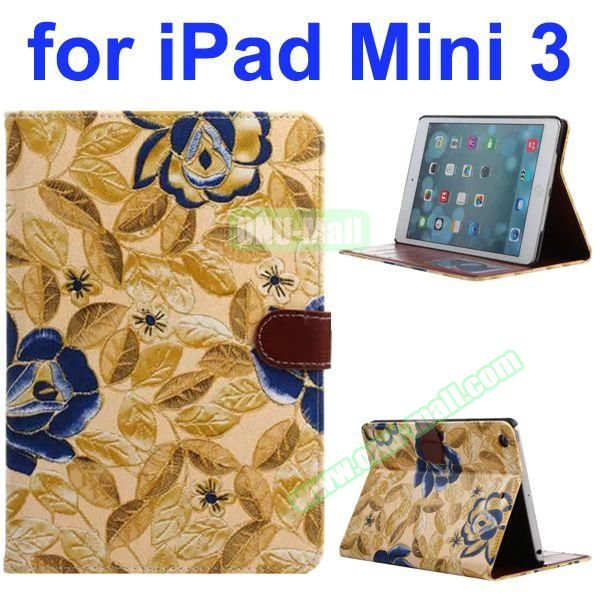 Classical Flower Pattern PU Flip Leather Case for iPad Mini 3 (Gold)