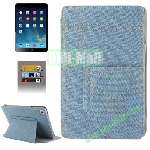 Denim Style Leather Cover Case for iPad Mini Retina with 2 Gears & Credit Card Slots