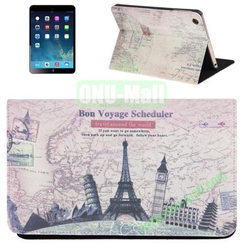 Travel Around The World Pattern Flip Leather Case with Holder for iPad Mini  Mini 2 Retina