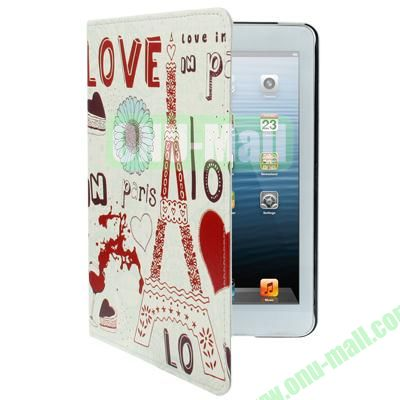 Love Eiffel Tower Pattern Leather Cover with for iPad Mini  Mini 2 Retina Holder and Sleep  Wake-up Function