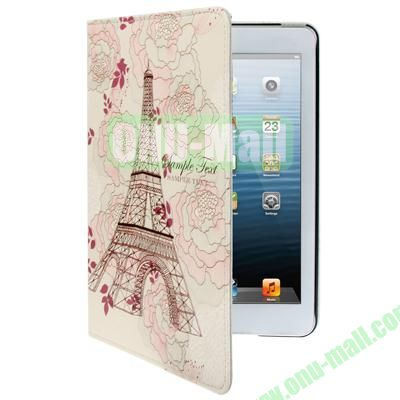 Flower Eiffel Tower Pattern Leather Cover with for iPad Mini  Mini 2 Retina Holder and Sleep  Wake-up Function