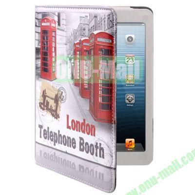 London Telephone Booth Style Leather Case for iPad Mini  Mini 2 Retina with Holder