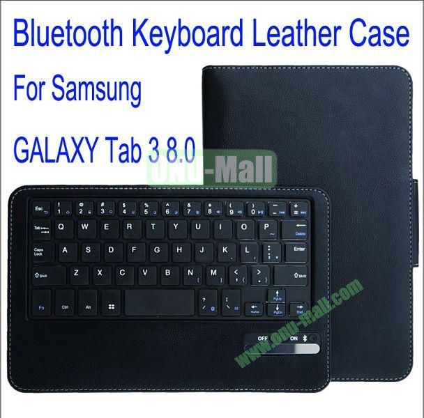 High Quality Bluetooth Keyboard With 450mAh Mobile Power And PU Leather Case with Trapezoid Stand for Samsung Galaxy Tab 3 8.0T310(Black)