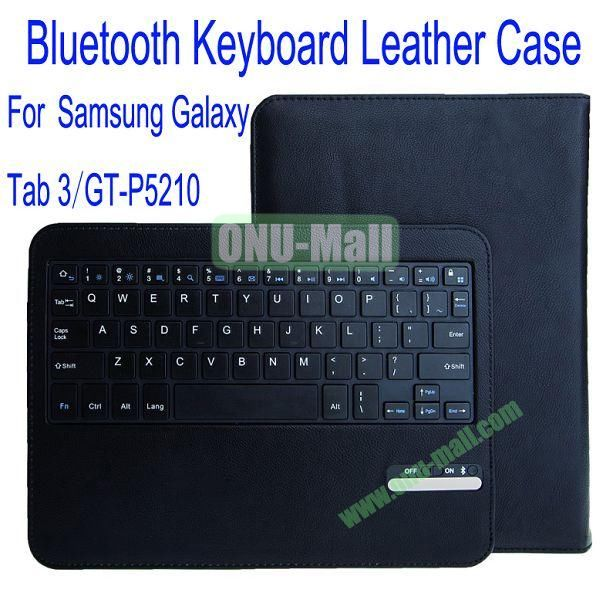 High Quality Bluetooth Keyboard With 450mAh Mobile Power And PU Leather Case with Trapezoid Stand for Samsung Galaxy Tab 3 10.1P5210(Black)