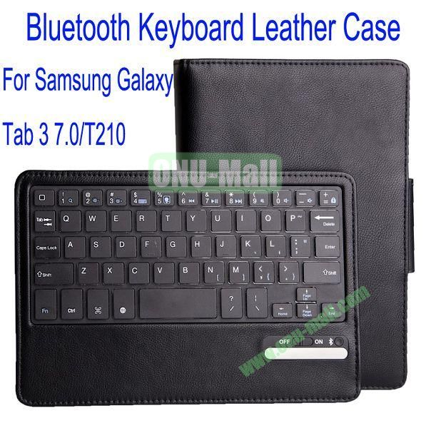 High Quality Bluetooth Keyboard With 450mAh Mobile Power And PU Leather Case with Trapezoid Stand for Samsung Galaxy Tab 3 7.0T210(Black)