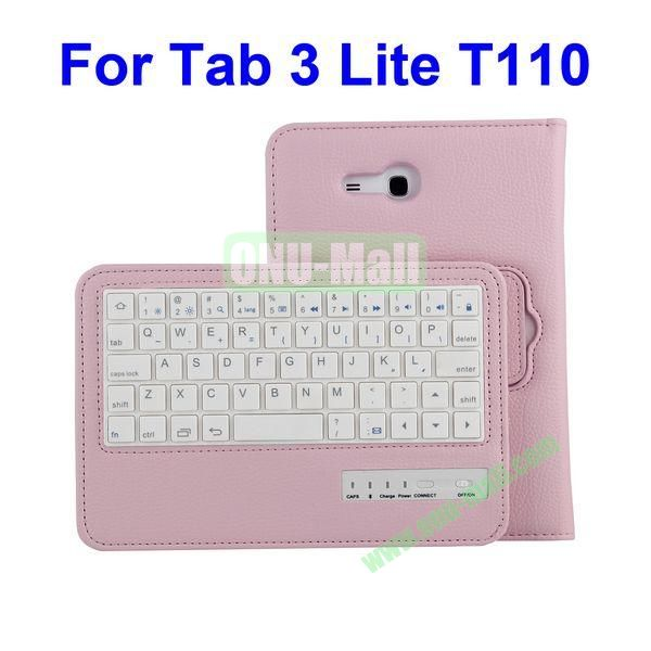 Detachable Bluetooth Keyboard Leather Case for Samsung Galaxy Tab 3 Lite T110 (Pink)