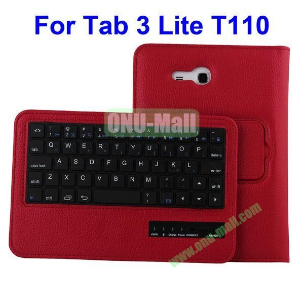 Detachable Bluetooth Keyboard Leather Case for Samsung Galaxy Tab 3 Lite T110 (Red)
