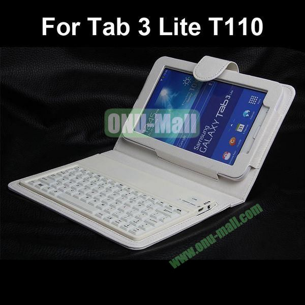 Bluetooth Keyboard Leather Case for Samsung Galaxy Tab 3 Lite T110 (White)