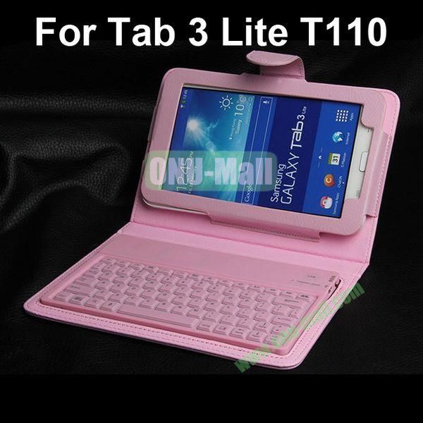 Bluetooth Keyboard Leather Case for Samsung Galaxy Tab 3 Lite T110 (Pink)