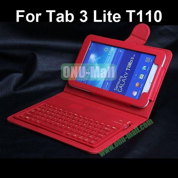 Bluetooth Keyboard Leather Case for Samsung Galaxy Tab 3 Lite T110 (Red)