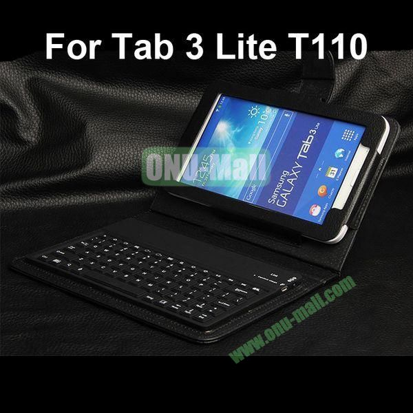 Bluetooth Keyboard Leather Case for Samsung Galaxy Tab 3 Lite T110 (Black)