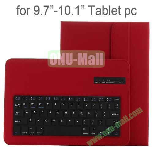 Universal Detachable Bluetooth Keyboard Leather Case for 9.7-10.1 Tablets (Red)