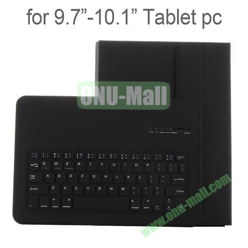 Universal Detachable Bluetooth Keyboard Leather Case for 9.7-10.1 Tablets (Black)