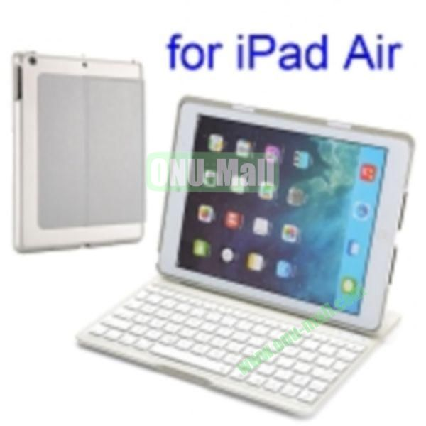 Super Slim PU and Aluminum Bluetooth Keyboard Case for iPad Air (Silver)