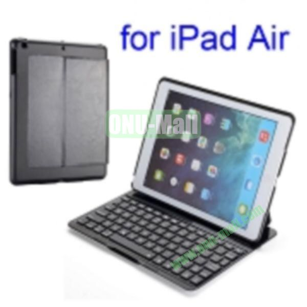 Super Slim PU and Aluminum Bluetooth Keyboard Case for iPad Air (Black)