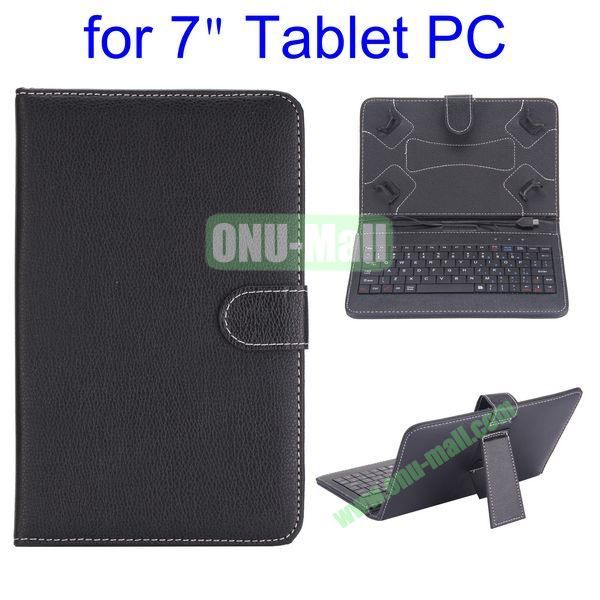 7 inch Universal Tablet PC Keyboard Magnetic Flip Litchi Texture Leather Case with Holder (Black)
