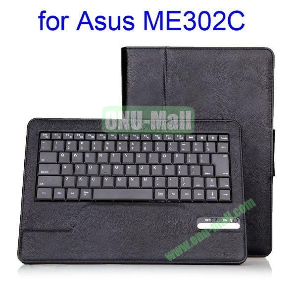 New Arrival Wireless Keyboard  Detachable Stand Leather Case Cover for Asus ME302C (Black)