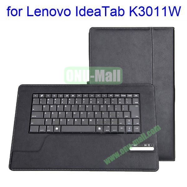 New Arrival Detachable Bluetooth Keyboard Leather Case with Stand for Lenovo Idea Tab K3011W (Black)