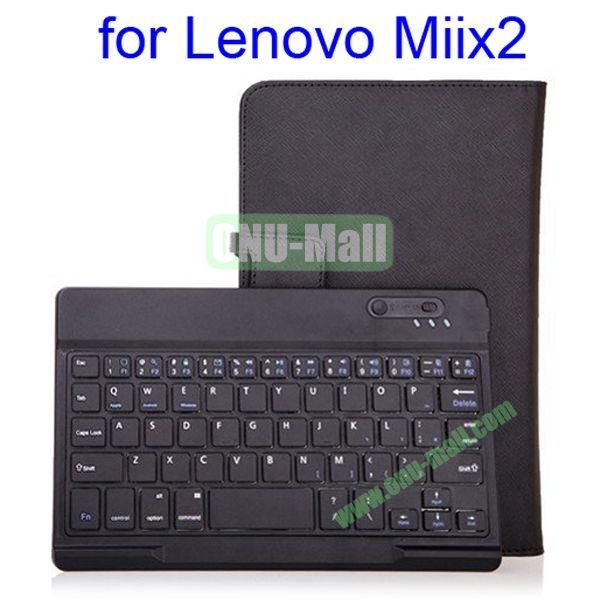 New Arrival Crossing Texture Detachable Bluetooth Keyboard Leather Case with Stand for Lenovo MIIX2 8.0 (Black)