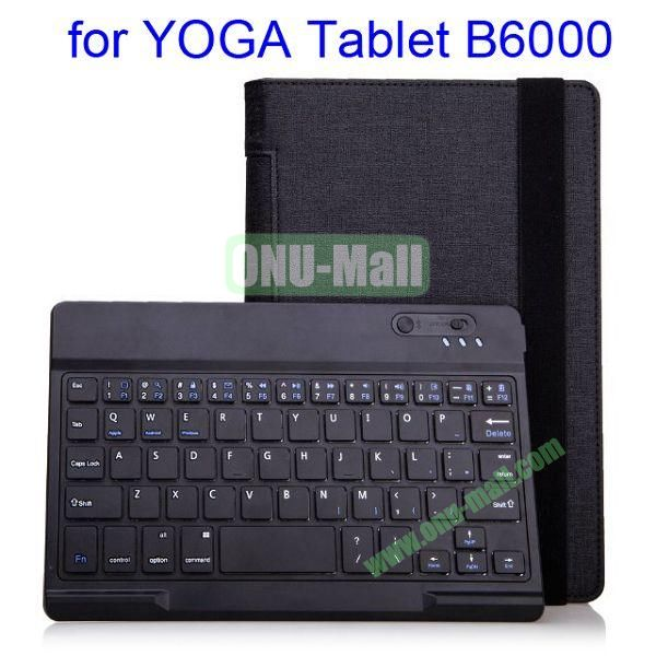 New Arrival Removable Bluetooth Keyboard Leather Case with Stand for Lenovo Yoga B6000 (Black)