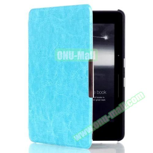 Crazy Horse Texture Flip PU Leather Case for Kindle Voyage (Baby Blue)
