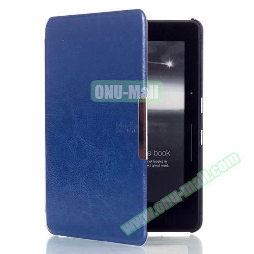 Crazy Horse Texture Flip PU Leather Case for Kindle Voyage (Dark Blue)