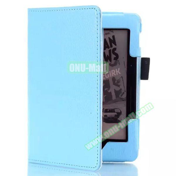 Litchi Texture Flip PU Leather Case for Kindle Voyage (Light Blue)